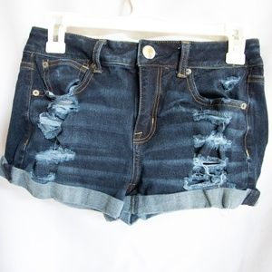 Dark wash distressed jean shorts